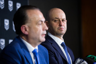 Todd Greenberg (right) and Peter V'landys did not see eye to eye at the end of the former's tenure at the NRL.