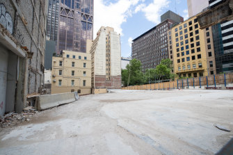 A site in Bourke Street where developer Cbus has been forced to stall development due to COVID uncertainty.