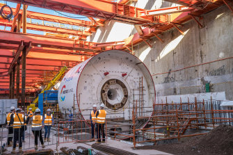 Metro Tunnel's first tunnel-boring machine which ground to a halt for three days.