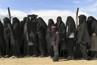 Foreign women and children in al-Hawl camp Syria in April.