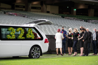 Dean Jones was farewelled by family in a small ceremony at the MCG.