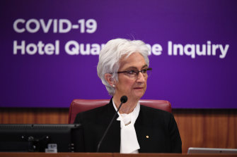 Justice Jennifer Coate on the first day of the hotel quarantine inquiry.