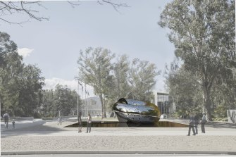 A digitally rendered image shows how Lindy Lee's Ouroboros sculpture will look in the National Gallery of Australia garden.