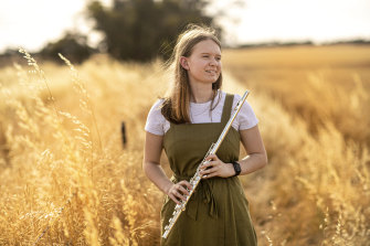 A leader in her field: Eliza Creek from the Wimmera town of Nhill learnt flute by taking online lessons.