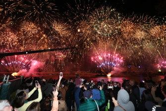 Fireworks over Brisbane after the news.