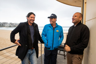 """From left:  Chef Colin Fassnidge, lifeguard Bruce """"Hoppo"""" Hopkins of Bondi Rescue and actor Luke Carroll are part of a video campaign against domestic violence."""