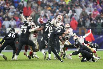 Baltimore kicker Justin Tucker kicks the game winning field goal against the San Francisco 49ers.