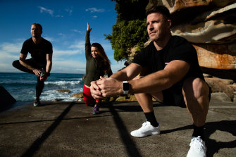 Bend and stretch and strengthen your body to minimise the risk of injury: Trent Knox, Rachel Stanley and Todd Liubinskas.