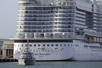 The Costa Smeralda cruise ship was docked in the Civitavecchia port near Rome.