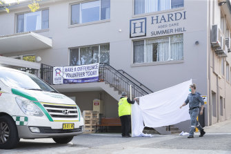 Summer Hill's Wyoming aged care facility as residents were moved to hospital on Monday.