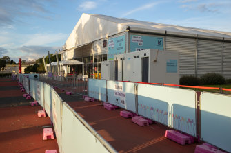 There were no queues at the vaccination hub at the Royal Melbourne Showgrounds on Monday.