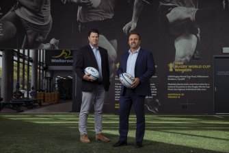 Rugby Australia chairman Hamish McLennan (left) and chief executive Andy Marinos.