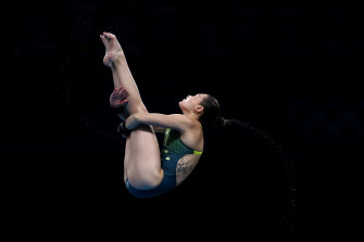 Melissa Wu competes in the women's 10m platform.