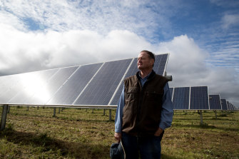 Tom Warren, a farmer whose land hosts a solar farm near Dubbo, says more renewables will help revive regional economies.
