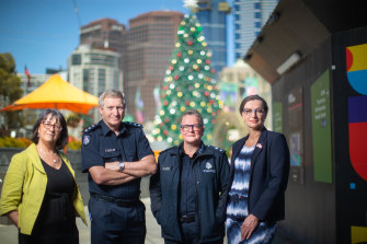 Jacqui Watt, chief executive of No to Violence, Acting Inspector Alasdair Gall, Acting Superintendent from Family Violence Command, Marnie Johnstone, and Tracey Gaudry, chief executive of Respect Victoria.