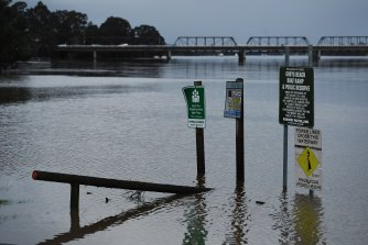 The Shoalhaven River reached flood levels at Nowra not seen since 1991.