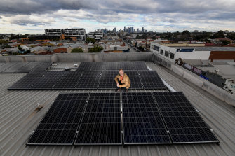 Sam Danby on the roof of the Brunswick East apartment block he lives in.