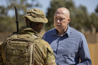 Defence Minister Peter Dutton at the Townsville field training area in Queensland this week.