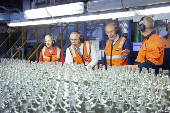 Prime Minister Scott Morrison, VISY Executive Chairman Anthony Pratt and Member for Lindsay Melissa McIntosh tour the Visy Glass Factory in Penrith.
