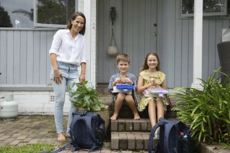 Dietician Karina Savage with kids Lachlan, 6, and Sophie, 8.