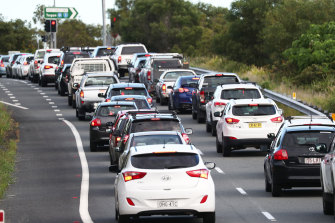 Traffic snarls were commonplace on the Pacific Highway near the border with Queensland.