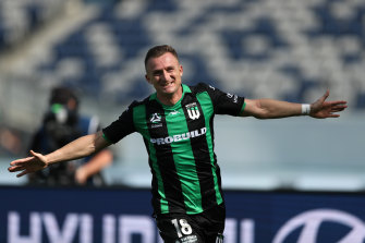 Western United's Besart Berisha struck twice to down former side Melbourne Victory.