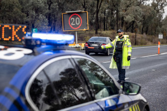 A Victoria Police checkpoint at Chiltern on the Hume Highway in July.