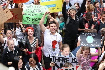 Thousands of school students from across Sydney attend the global rally at Town Hall in March.
