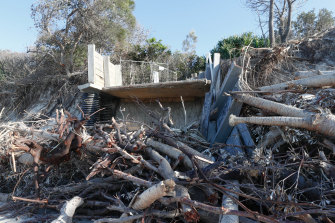 Some of the wreckage from the recent beach erosion along parts of the coast near Byron Bay.