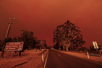 The sky turns red as fires close in on Omeo in Victoria earlier this month.
