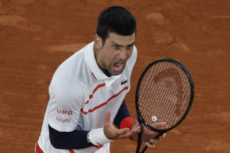 Novak Djokovic reacts en route to his quarter-final victory over Pablo Carreno Busta.