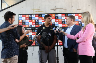 South Sydney Rabbitohs player Latrell Mitchell speaks to media about online abuse.
