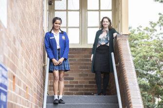 HSC student Manya Jain, from Parramatta High, after finishing the new advanced exam, with head maths teacher Belinda Aylett.