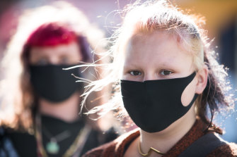 Saffron Walker and Dorien Gastin wore masks on Brunswick Street in  Fitzroy on Wednesday.