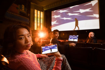Coming to screens near you: Ling Ang, Chris Pang and Al Cossar demonstrate some of the many ways MIFF will reach audiences this year.