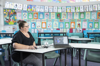 Lindfield East Public school classroom with teacher Deanna Sonter remote teaching with zoom.