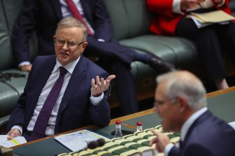 Prime Minister Scott Morrison and Opposition Leader Anthony Albanese during Question Time on May 26, 2021.