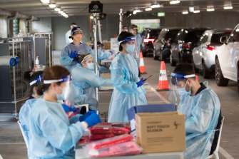 A drive-through COVID testing site in Melbourne.