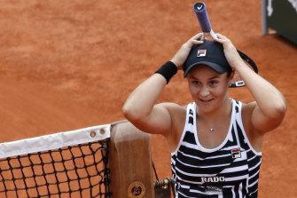 Australia's Ashleigh Barty after winning the French Open final against Czech Marketa Vondrousova.