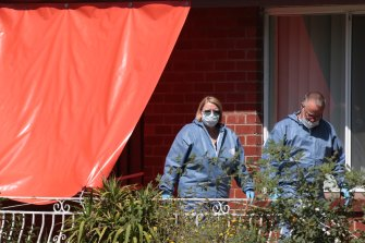 Police investigate the scene of a death in Liberty Parade, Heidelberg West on Wednesday.