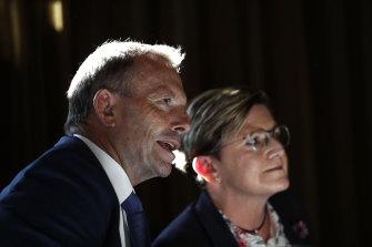 Former prime minister Tony Abbott and his sister, Christine Forster.