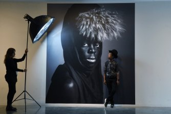 Professor Zanele Muholi in front of their work MaID IV, New York, at the MCA.