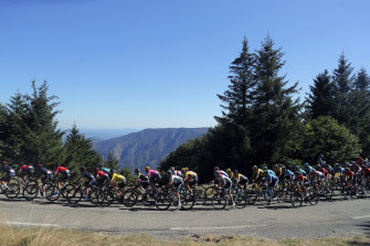 The Tour de France peloton, with race leader Adam Yates in yellow in the centre.