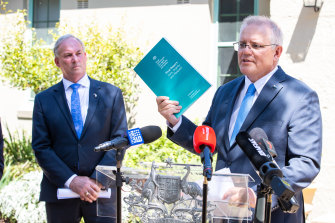 Prime Minister Scott Morrison at a press conference about the royal commission final report.