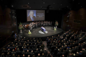 The crowd at the state funeral for Tim Fischer.