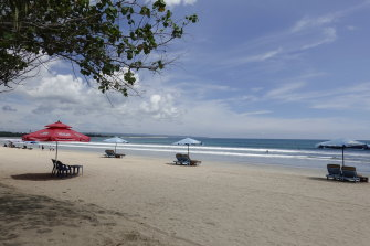 An almost empty Kuta Beach in Bali.