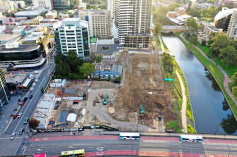 Drone photograph of Willow Grove amid site works.