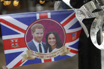 A flag celebrating the wedding of Prince Harry and Meghan in May 2018.
