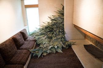 A leaf sculpture begins to take over the Heide lounge room.