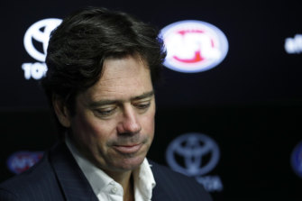 AFL CEO Gillon McLachlan announces the suspension of the 2020 season.